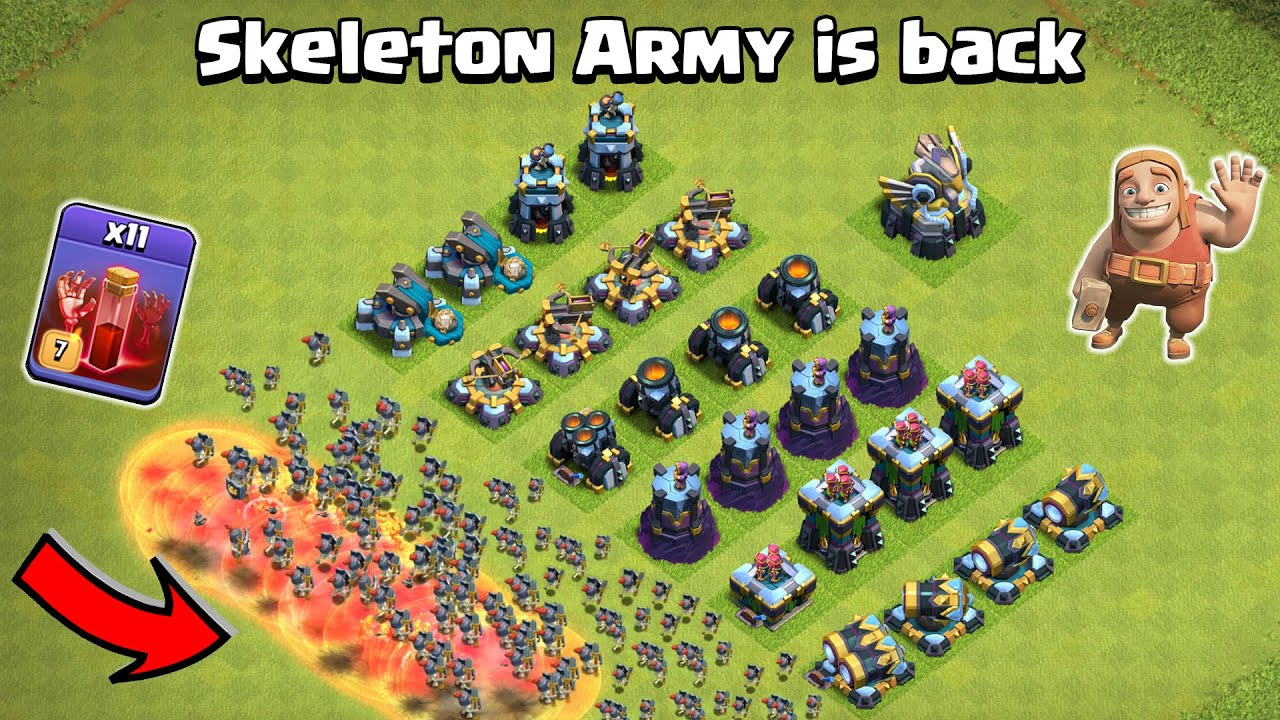 Skeleton ARMY Vs All Defense Formation | Clash of Clans Gameplay | COC