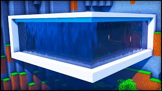 Minecraft: Waterfall Modern House | How to build a Cool Mountain Modern House Tutorial