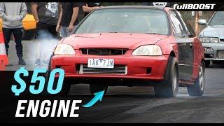 Budget Honda runs 10s with a $50 engine