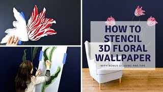 How To Easily Paint 3D Flowers With Tulip Stencils on an Accent Wall [ FULL TUTORIAL]