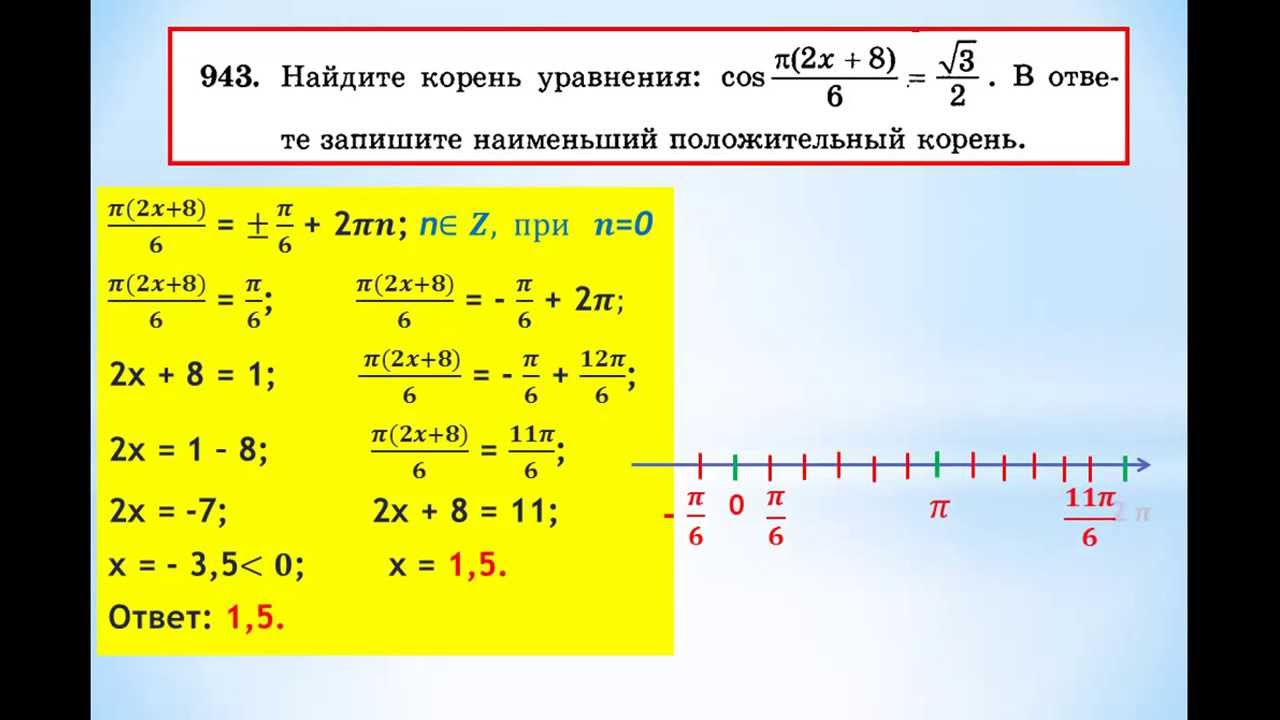 ЕГЭ-2014 Задание В-7 Урок №112 Найти наименьший положительный корень тригонометрического уравнения