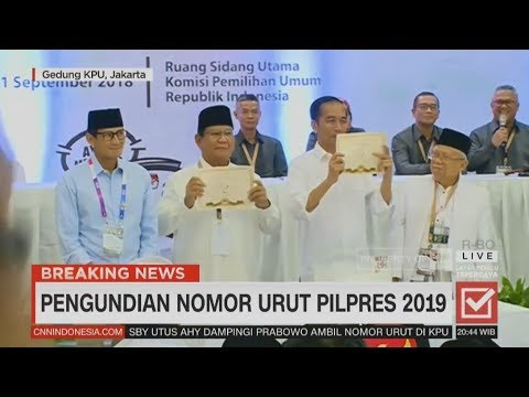 Jokowi-Ma'ruf No.1, Prabowo-Sandi No.2 | Penetapan Nomor Urut Pilpres 2019