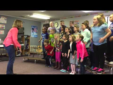 Heyworth Elementary School second graders do a vocal exercise
