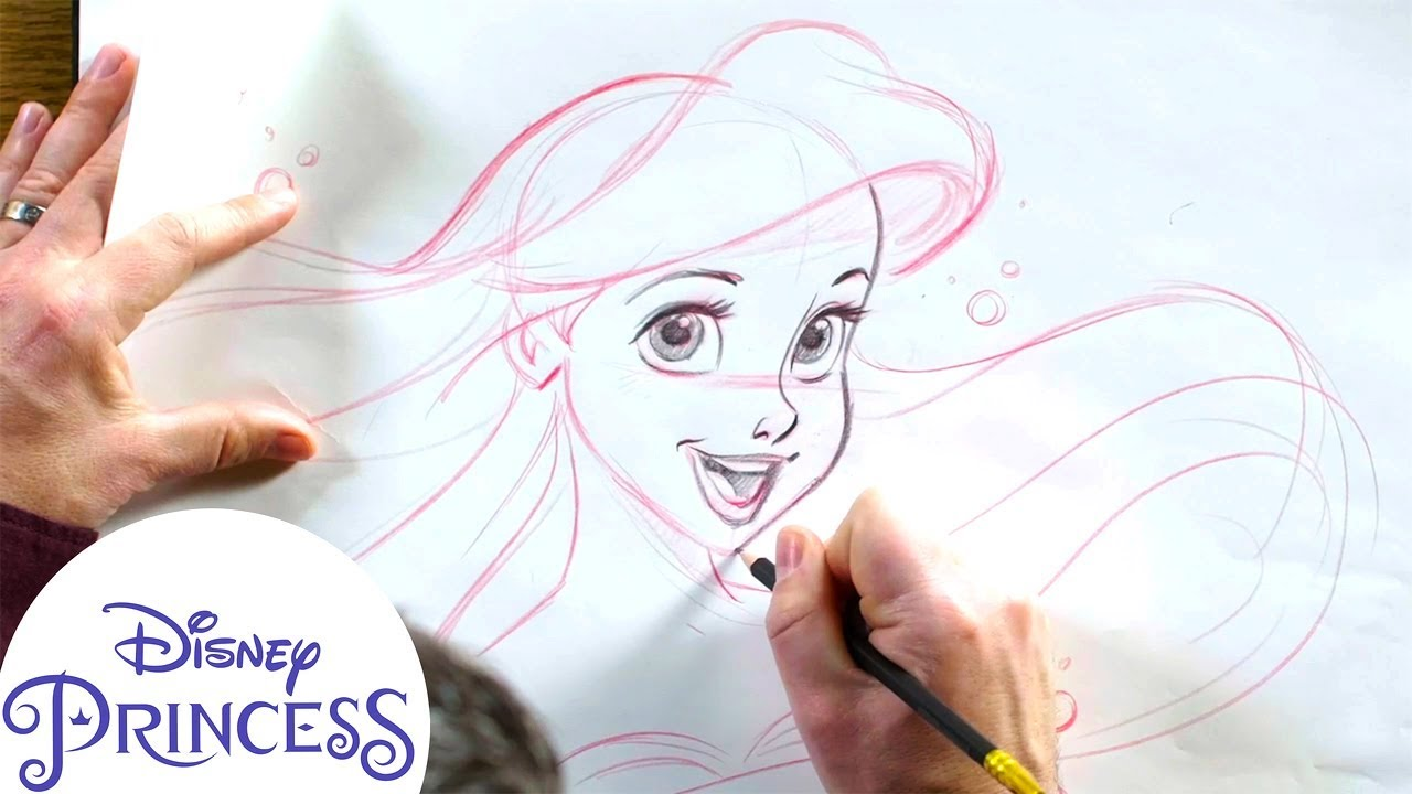 How To Draw Ariel From The Little Mermaid Disney Princess Youtube