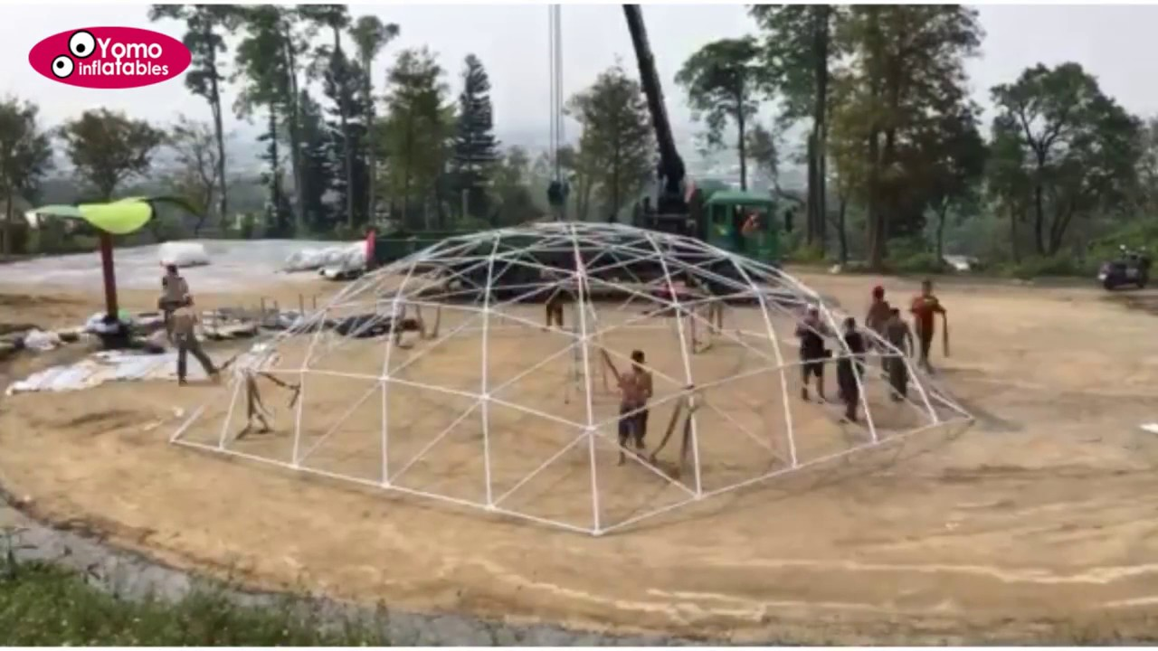 Inflatable Concrete 50m Geodesic Dome House Dome Shelters Structure Yomo Inflatables