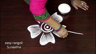 Freehand cute kolam     latest designs      easy rangoli  muggulu     beautiful patterns