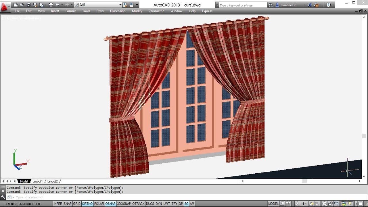 Creating 3d Curtains Autocad 3d Curtain Youtube