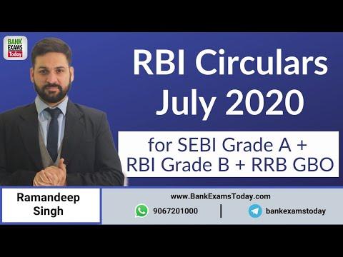 RBI Circulars July 2020 Analysis for IBPS RRB GBO