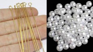 How To Make Simple And Beautiful Pearl Earrings At Home   DIY   Pearls Jewelry Making   uppunutihome