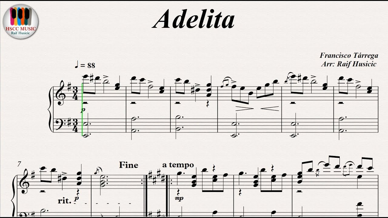 Adelita - Francisco Tárrega, Piano