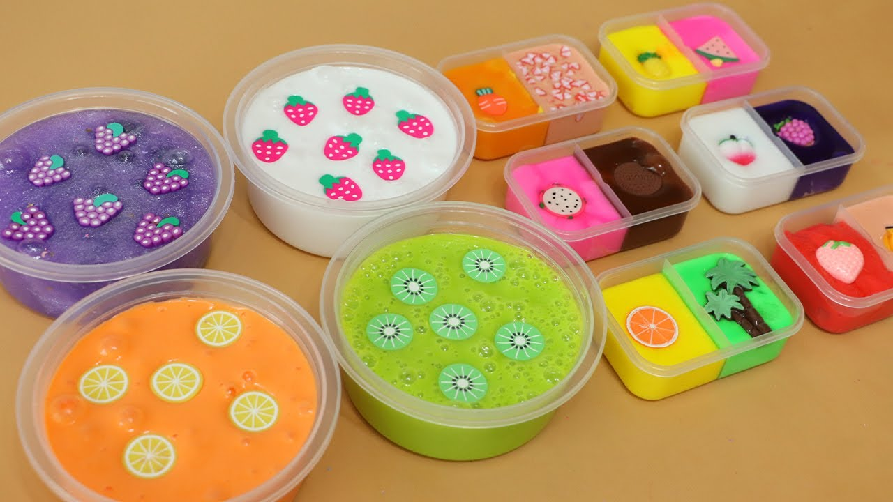 Mix all of my fruit slimes!Most Satisfying Slime Video★ASMR★#ASMR