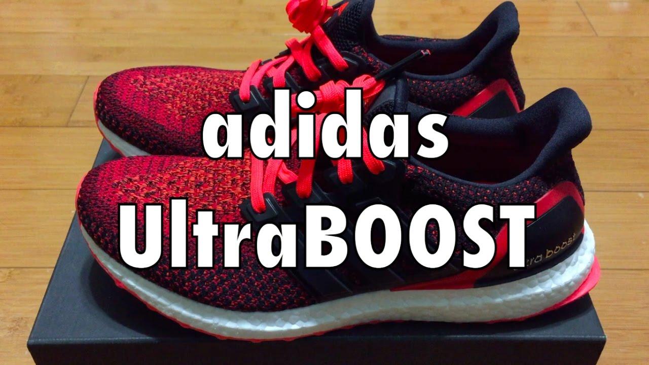 bffa09006e5d Adidas UltraBOOST - Black Solar Red - YouTube