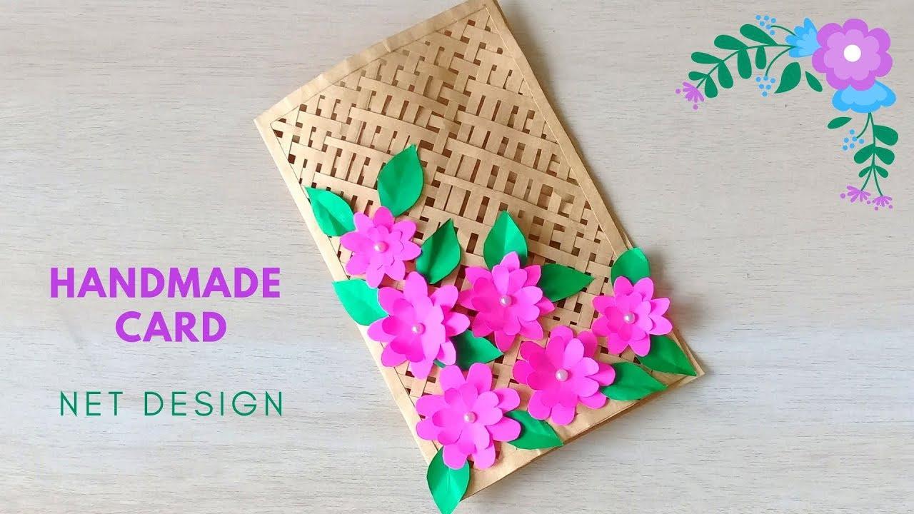 Beautiful Handmade Card For Anniversary Birthday Net Weaving Flower Greeting Card