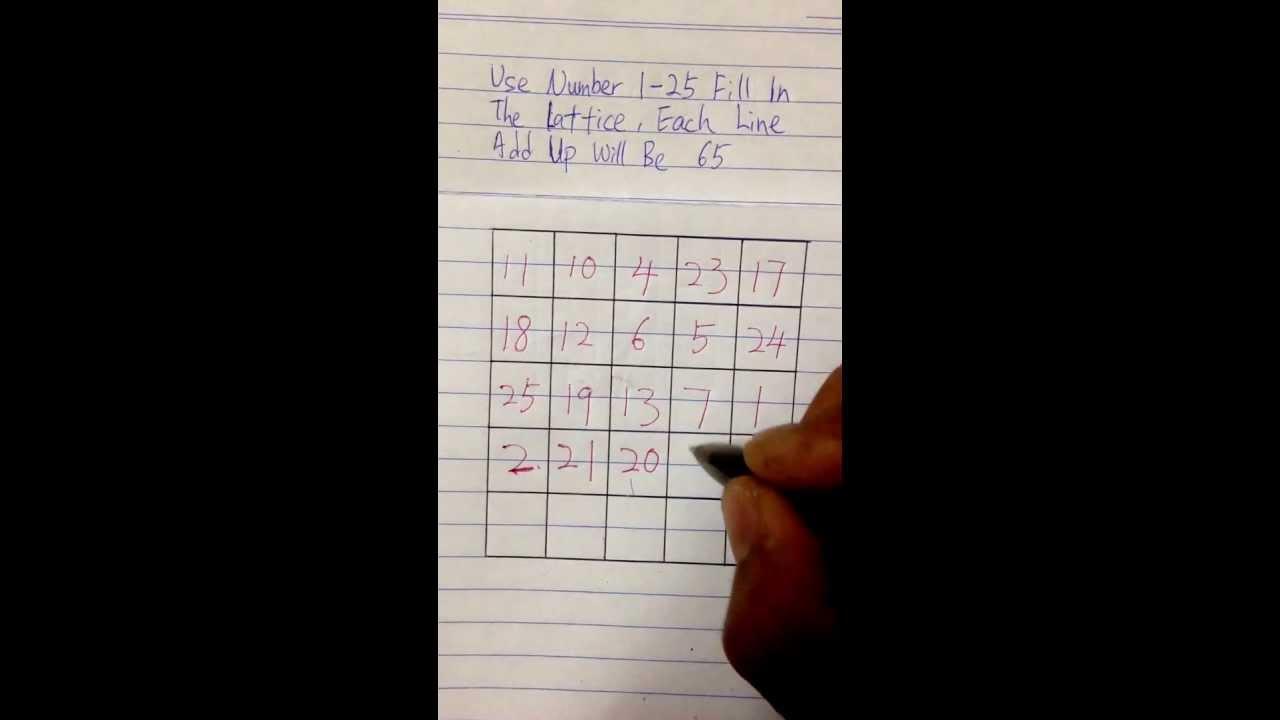 The magic square (5x5) Total=65 - YouTube