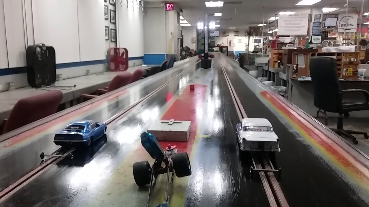 Drag racing 1/32 scale slot cars with my Grandson Feb 2017