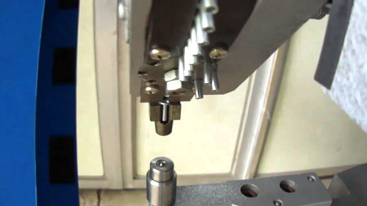 Rivet Machine Anvils : Impact riveting machine for pp box meter throat dept