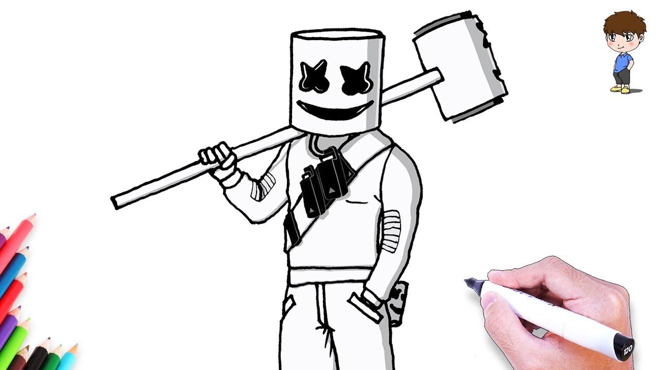 Como Dibujar A Marshmello Fortnite Paso A Paso Dibujos Para Dibujar Dibujos Faciles