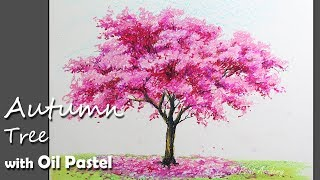 How to Paint A Autumn Tree with Oil Pastel | Lesson-2