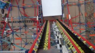 Giant Drop - 24 Foot knex  Free Fall Attraction POV- Update 1