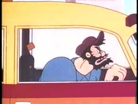 Business Competition? Vintage Cartoon, Popeye in Taxi Turvey