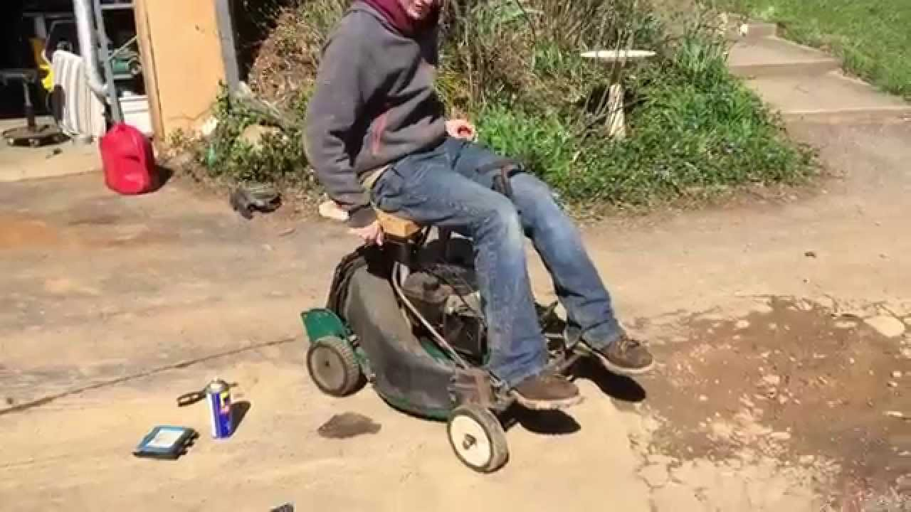 riding the old homemade riding mower - YouTube