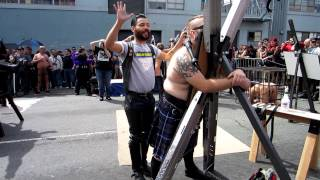 Being flogged and single tailed at Folsom Street Fair 2012