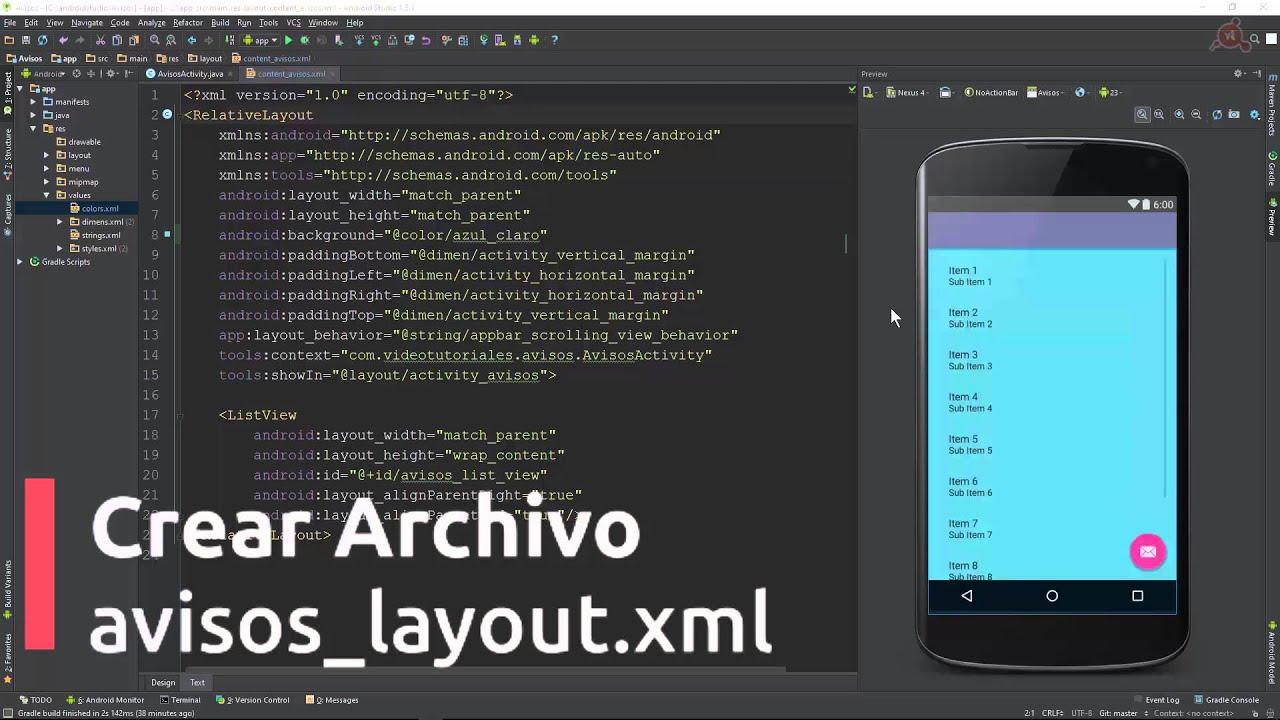 curso android studio editar el xml del layout youtube