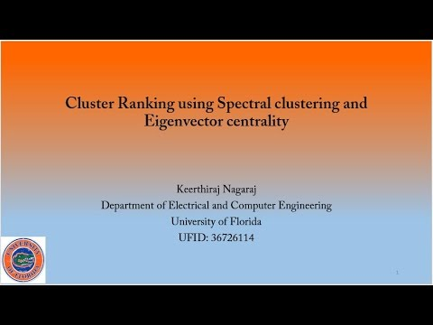 Cluster ranking using Spectral Clustering and Eigenvector centrality