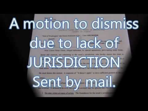 Sending my Motion to Dismiss Due to Lack of Jurisdiction 1/27/15