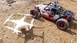 RC ADVENTURES - LOSi DBXL 1/5 scale 4x4 Buggy & DJi PHANTOM 4 Quad Rotor Flying Camera