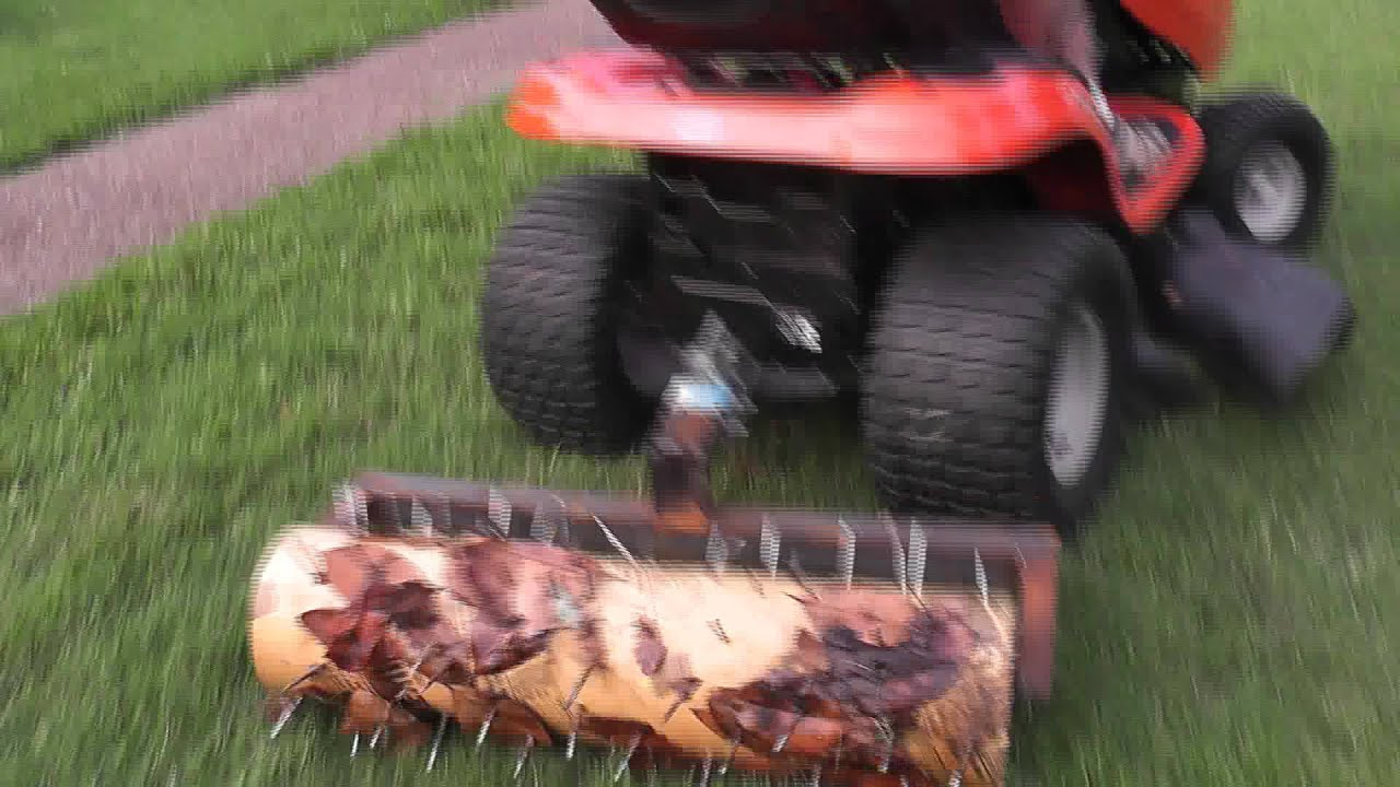 Home Made Aerator Pulled Behind Lawn Tractor Youtube