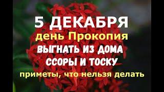 5 декабря День Прокопия ВЫГНАТЬ ИЗ ДОМА ССОРЫ И ТОСКУ Народные приметы