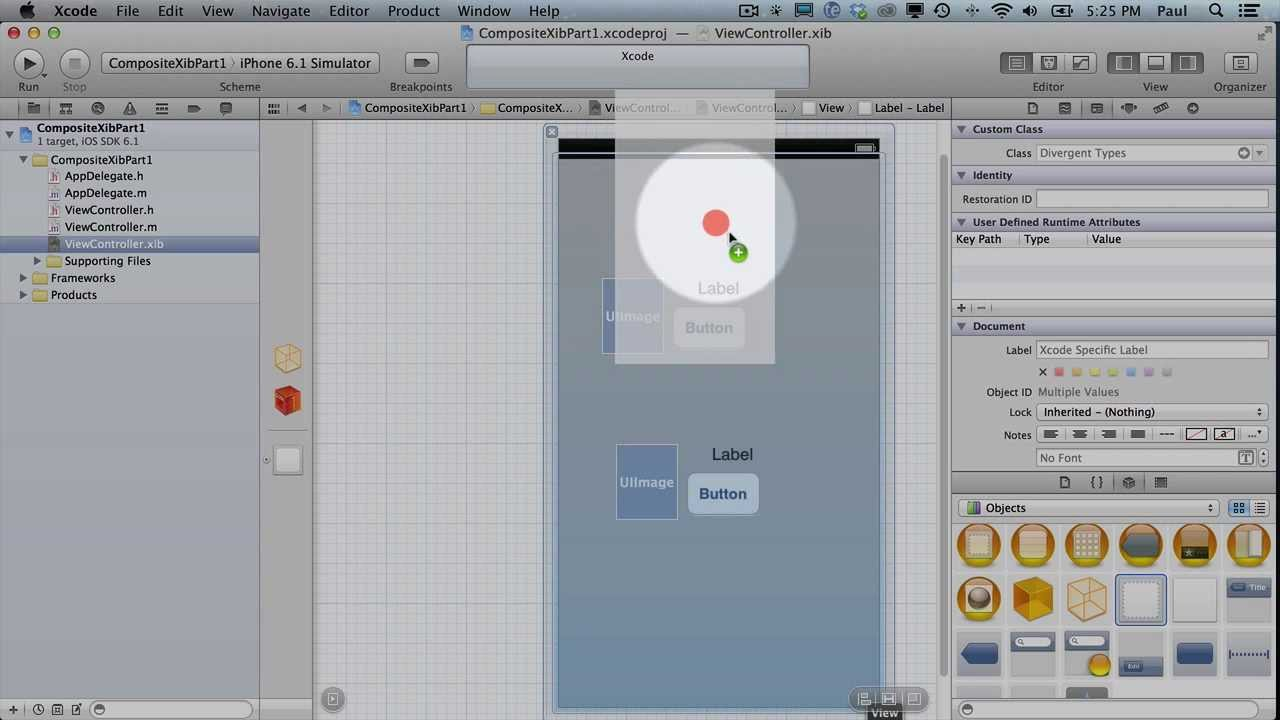Custom UIView Designed in Interface Builder .xib Xcode 4.6 - Part 1