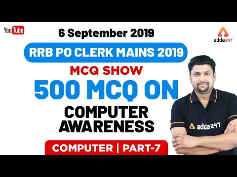 All Exams | Computer Awareness MCQ Show | 6 September 2019 | 500 MCQ For RRB PO/CLERK (Part 7)