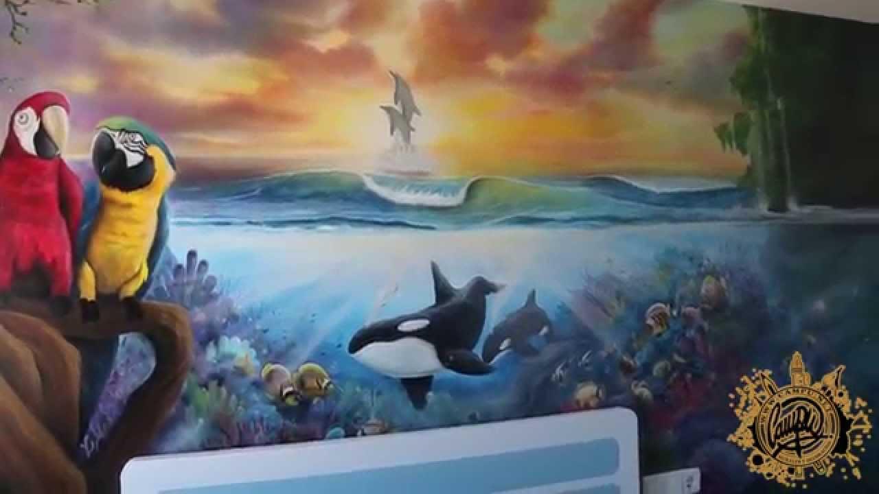 Mural decorativo papagayos paisaje marino youtube for Decoracion y paisaje s a