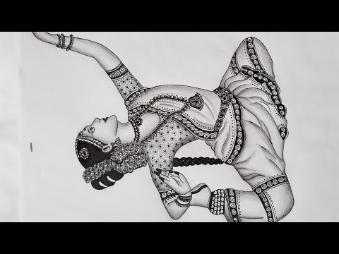 How To Draw Mandala Art Inspired By Indian Traditional Dance Bharatanatyam Step By Step Youtube