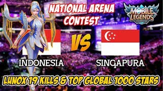 Pro Lunox & Top Global 1000 Bintang Ratakan Pertahanan Musuh Indonesia vs Singapore Arena Contest