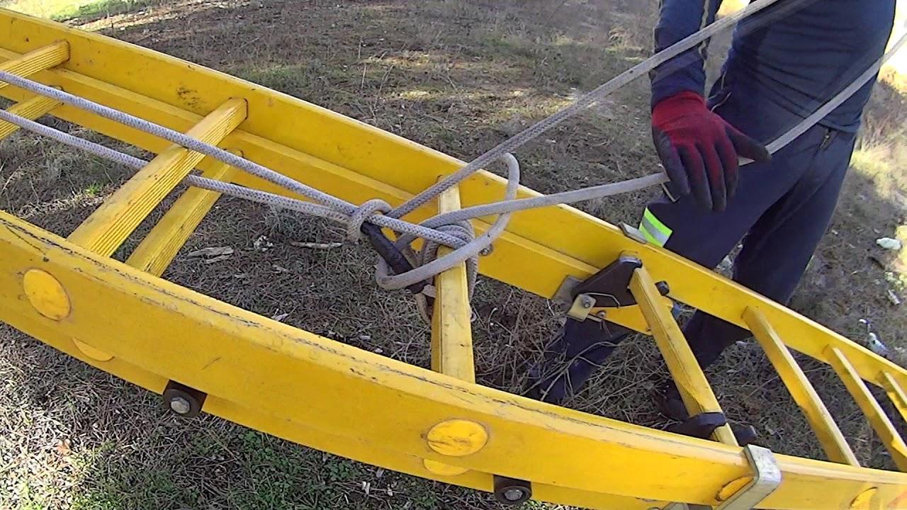 Practica con escalera manual. Asegurar con vientos
