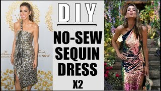 DIY: How To Make 2 NO SEW Sequin Dresses (RED CARPET) - By Orly Shani
