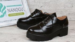 Ботинки лоферы женские черные на каблуке со шнуровкой Mallanee