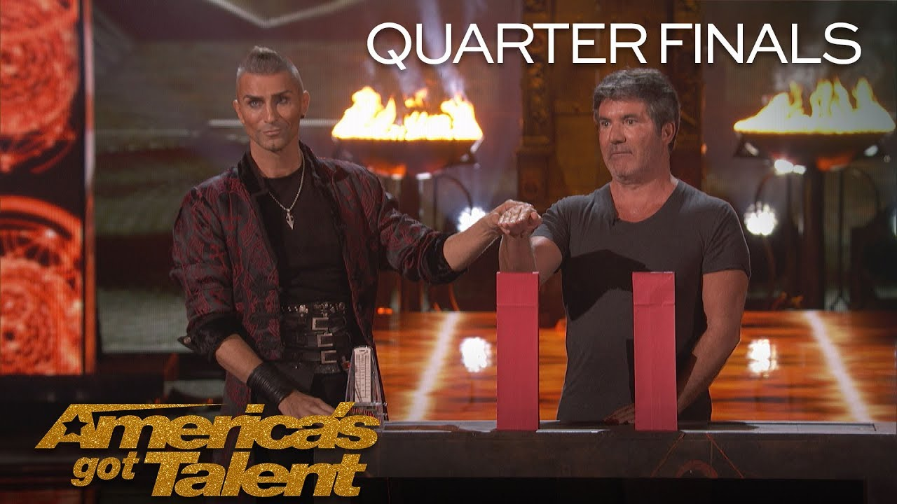 Aaron Crow: Danger Act Plays Terrifying Game Of Chance With Knife - America's Got Talent 2018
