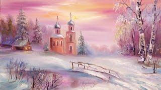 """Видео урок """"Рисуем церковь в снегу. Дорога к храму"""""""