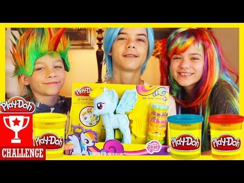 PLAY DOH CHALLENGE!  MY LITTLE PONY RAINBOW DASH STYLE SALON | Play-Doh Kit Set |  KITTIESMAMA