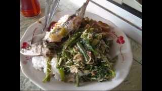 Jakarta Street Food 252 Indonesian Spicy Salad , Fried Fish ,rice ,chilly    Nasi Urap Ikan Cuek