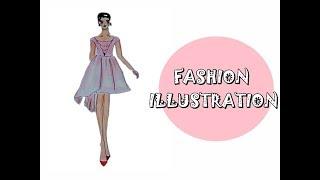 illustration design pink princess dress 💖