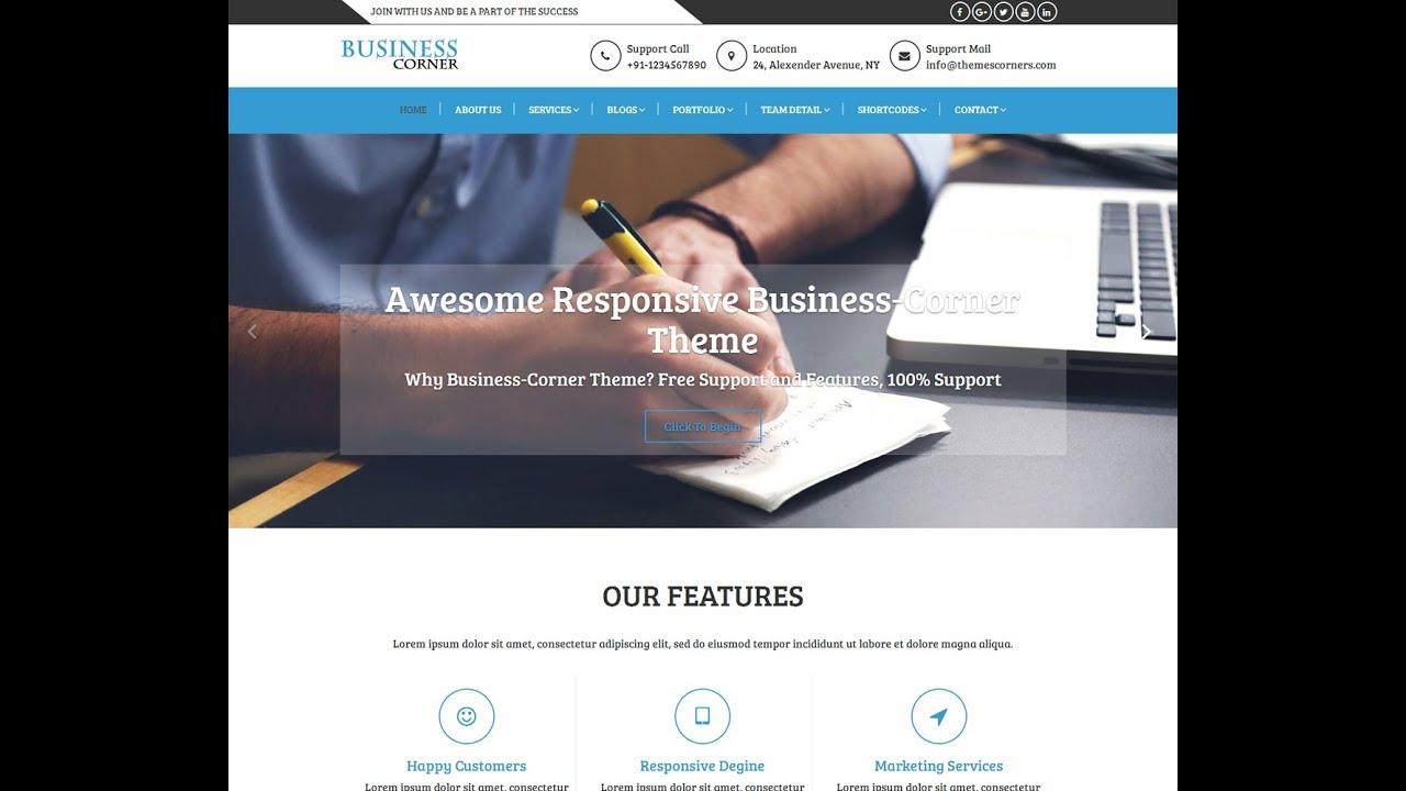 How To Set Business Corner Free WordPress Theme