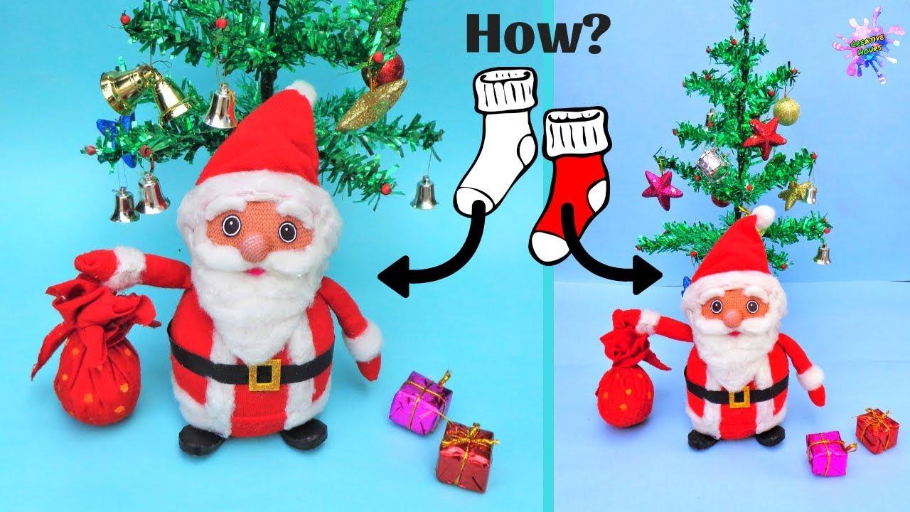 Diy Christmas Room Decor Ideas How To Make Santa Claus From Old Socks Easy Christmas Craft