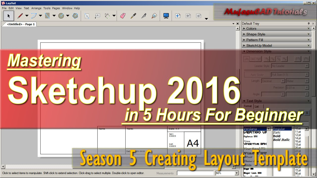 Sketchup 2016 Creating Layout Template Tutorial For