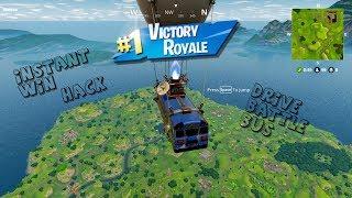 Fortnite Battle Royale Battle Bus Hack.... Instant Win !!! (DRIVE BATTLE BUS)