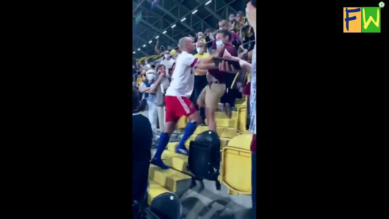 Hamburg's defender Toni Leistner fighting with a Dynamo Dresden fan